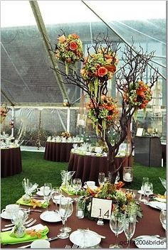 I love using tree branches for a centerpiece!!! Can be for any type party and is such a great statement!! Decorate any style-  simple: paint the branches and drape burlap on branches -