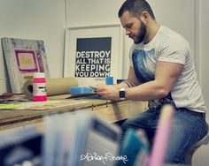Shane working on a new print in the studio today. Adrian+Shane #adrianandshane