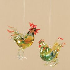 swirl glass rooster christmas ornaments