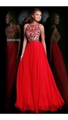 Beads Sherri Hill 11146 Long Prom Dress Red
