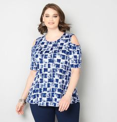 Abstract Plaid Cold Shoulder TopAbstract Plaid Cold Shoulder Top,