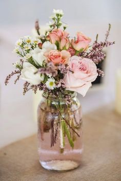 Hottest 7 Spring Wedding Flowers---blush pink and white flowers centerpieces in . Hottest 7 Spring Wedding Flowers---blush pink and white flowers centerpieces in the glass, wedding table settings, diy w. Jam Jar Wedding, Wedding Boxes, Diy Wedding, Trendy Wedding, Wedding Ideas, Floral Wedding, Wedding Reception, Wedding Inspiration, Wedding Venues