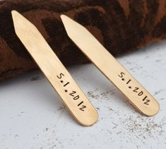 Bronze Collar Stays, Personalized Collar Stiffeners, Groomsmen Gift, Best Man Gift, Husband Gift, Fathers Day, Wedding, Father of the Bride