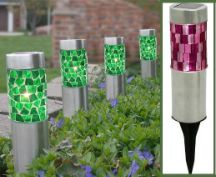 Set of Four Emerald Mosaic Solar Stake Landscaping Lights-Garden Decor-Home and Patio Decor Center