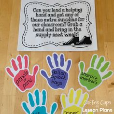 Cute and inexpensive idea for Back to School Night to get parents to donate supplies.