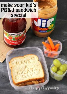 Surprise your kids by stamping a sweet message onto their PB&J Sandwich. This cute Back to School Lunch will make their day special and it's so easy to do using @jifpeanutbutter and @smuckers strawberry jam. #PBLove #ad