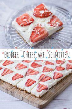 Wenns mal wieder schneller gehen muss sind diese No Bake Cheesecake Schnitten mit Erdbeeren und Amarettini Boden einfach perfekt.