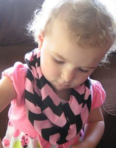 Pastel Pink and Black Child Baby Toddler Chevron Infinity Loop Scarf Photo Prop by ChevronScarf