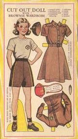 Girl Scout/Guides Brownie paper doll  Could easily make your own and get the girls to colour them in with the different uniforms of all the different sections
