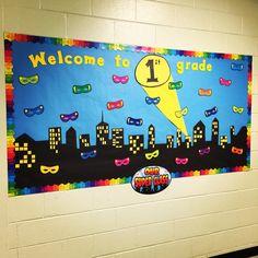 Creating the Perfect Superhero Classroom - Elementary Nest - classroom decor and setup - Superhero School Theme, Superhero Classroom Decorations, Superhero Room, School Themes, Classroom Themes, Classroom Organization, Superhero Bulletin Boards, Back To School Bulletin Boards, Preschool Bulletin Boards