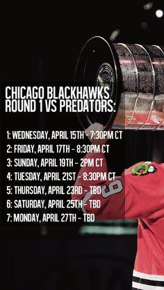 Blackhawks Playoff Schedule- Round 1.