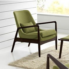 Baxton Studio Carter Mid-Century Green Fabric Upholstered Accent Chair-28862-6392-HD - The Home Depot