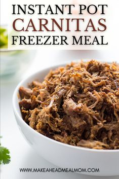 Instant Pot Pork Carnitas are flavorful, tender, and delicious! They are so versatile and can be used in a variety of meals! Cook once and eat all week!! Also great for keto or low-carb diets. So many uses and the flavor is out of this world! #freezerfriendly #freezer #freezermeals #makeahead #carnitas #instantpot #easydinner #pork Healthy Freezer Meals, Make Ahead Meals, Healthy Meal Prep, Freezer Recipes, Meal Recipes, Keto Meal, Pork Recipes, Paleo Recipes, Recipies