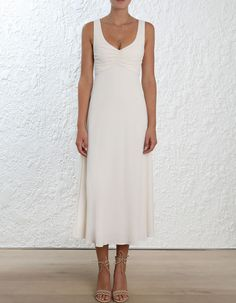 Zimmermann Rouche Scoop Dress. Model Image. Fits true to size take your normal sizeOur model is 5 9 5 178 cm bust size 32C 10C and is wearing a size 0