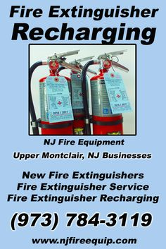 Fire Extinguisher Recharging Upper Montclair, NJ (973) 784-3119.. Local New Jersey Businesses you have found the complete source for Fire Protection. Fire Extnguishers, Fire Extinguisher Service.. We're got you covered.. NJ Fire Equipment