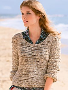 Pullover im Fallmaschen-Muster With the airy drop stitch pattern, the sweater caresses us like a summer breeze. Here you can find our free knitting instructions. Crochet Summer Tops, Knit Crochet, Free Knitting, Knitting Patterns, Moda Emo, Cardigans For Women, Free Pattern, Summer Outfits, Couture