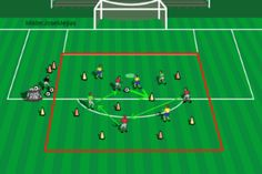 EJERCICIO DEL PROFESOR JOSE MEJIAS (ENTRENADOR DE FUTBOL NACIONAL, NIVEL 3) Ejercicio analítico físico para la mejora de la técnica de la conducción, control, pase y la coordinación. En una superficie como indica el gráfico, se colocan de 2 a 4 jugadores en la Zona 1 y Zona 2.