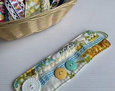 Denim Bracelet, Fabric Bracelets, Fabric Necklace, Handmade Bracelets, Cuff Bracelets, Fabric Hair Bows, Cat Fabric, Fabric Beads, Linen Fabric