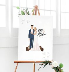 Wedding Guest Book Alternative Paper or Canvas with Portrait for Fun Wedding Guest Book Alternative Sign in Board by Miss Design Berry This Wedding Guest Book Alternative with Portrait is the perfect way to add a fun wedding portrait to the decor of your big day. Unlike a traditional guest book, guests sign this large print instead of a book. Afterwards, you can hang this guest book alternative in your home as a keepsake. All info for ordering, customization, turnaround time, and more is…