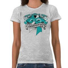 "Hey Girls! Bring attention to a cause that you support with our line of Cervical Cancer Fight Like A Girl shirts, apparel and gifts featuring a grunge layout, boxing gloves and the words ""Never Give Up"" exclusively by GiftsForAwareness.Com"
