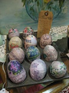 Decoupaged Easter Eggs. We should try these Taylor