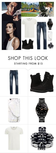 """""""Walking to the park with all of my loves- Toni"""" by loveemestill ❤ liked on Polyvore featuring Armani Jeans, Timberland, russell+hazel, Rado, Scotch & Soda, Mia Sarine, men's fashion and menswear"""
