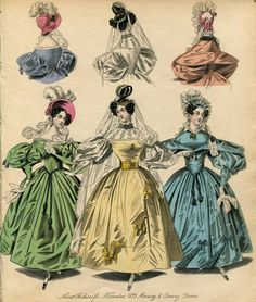 Victorian Fashion Plate Hand Coloured Bookplate Color Vintage Print Circa 1800 Hats Dresses Costumes Dress Morning Evening Yellow Dress via Etsy