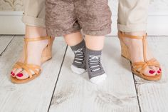 New for AW grey baby sneaker socks.