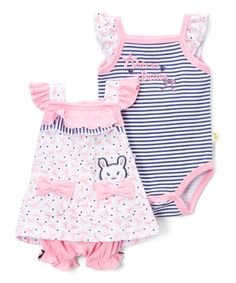 Take a look at this Pink & Navy Bunny Bow Print Ruffle Tank Set - Infant today!