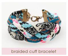 Hand Printed 'Insanity' Braided Cuff Bracelet by thiefandbandit from thiefandbandit on Etsy. Fabric Bracelets, Braided Bracelets, Fabric Jewelry, Tribal Bracelets, Friendship Bracelets, Cuff Bracelets, Bangles, Motif Navajo, Diy Tresses