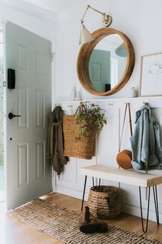 Sage Front Door and Painting Tips - Jessica Sara Morris - Our Sage Front Door and Painting Tips. Learn my simple tips to get a professional finish. Decoration Hall, Decoration Crafts, Diy Bank, Cheap Closet, Diy Home Decor For Apartments, Wood Mantle, Board And Batten, Front Door Decor, Front Hallway