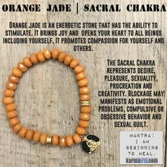 Orange #Jade opens your #heart to all beings including yourself. It promotes compassion for yourself and others. #Heals the heart and emotions of #grief, #heartache and disappointment, helps healers burnout and despair, promotes acceptance and unconditional #love.   #yoga #gifts #OM #mantra #Chakra #stretch #bracelets #LOA #lucky #love #lawofattraction #jewelry #charm #spiritual