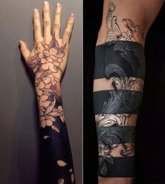 Solid Black Tattoo: 100 inspirations for brave black .- Solid Black Tattoo: 100 Inspirationen für mutige schwarze Tattoos solid-black tattoo for-men-and-women-with floral motives-as-cool-arm-tattoos– - Black Sleeve Tattoo, Black Art Tattoo, Black Tattoo Cover Up, Solid Black Tattoo, Full Sleeve Tattoos, Cover Up Tattoos, Foot Tattoos, Body Art Tattoos, Black Tattoos