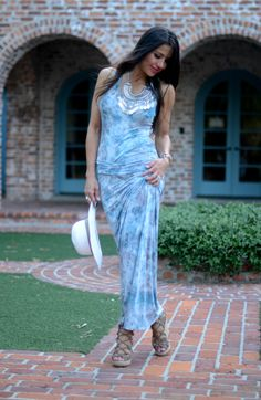 Maxi dress and statement necklace