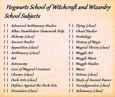 Hogwarts subjects by on DeviantArt Harry Potter Classes, Hogwarts Classes, Harry Potter Journal, Arte Do Harry Potter, Harry Potter Spells, Harry Potter Theme, Harry Potter Pictures, Harry Potter Aesthetic, Harry Potter Facts