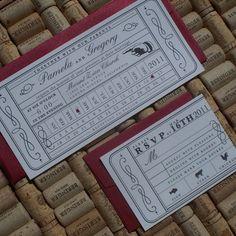 Vintage Ticket Wedding Invitation  Punch Card by JenSimpsonDesign, $3.75