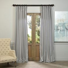 Shop for Exclusive Fabrics Silver Vintage Faux Textured Dupioni Silk Curtain…