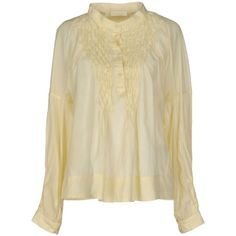 Scervino Street Blouse (9.040 RUB) ❤ liked on Polyvore featuring tops, blouses, yellow, long sleeve blouse, round collar blouse, beige long sleeve blouse, yellow long sleeve top and yellow top