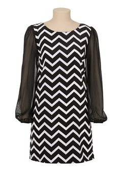 Chiffon sleeve chevron print shift dress (original price, $39) available at #Maurices