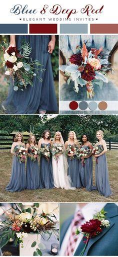 dusty blue and deep red fall wedding color ideas for 2018 #fallweddingflowers