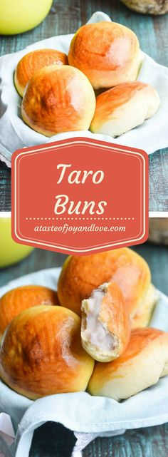 Delicate, fluffy buns with creamy taro custard. These buns are easy to make and make a perfect breakfast or any time treat. Delicate, fluffy buns with creamy taro custard. These buns are easy to make and make a perfect breakfast or any time treat. Taro Recipes, Healthy Bread Recipes, Best Bread Recipe, Taro Bread Recipe, Asian Recipes, Asian Desserts, Vietnamese Recipes, Muffin Recipes, Recipies
