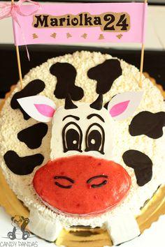 Tort krówka z łaciatym biszkoptem oraz kremem waniliowym i truskawkowym (bez glutenu, cukru białego) | Candy Pandas