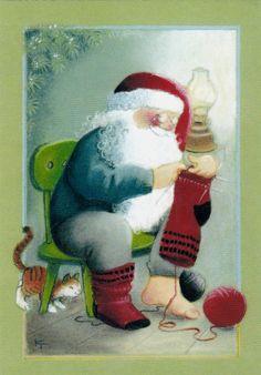 Kaarina Toivanen Christmas Santa Claus knitting cat unposted modern postcard   eBay