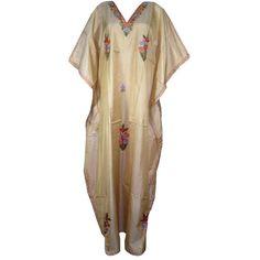 Womens Silk Kaftan Kashmiri Embroidered Beige Caftan Lounger Dress... (2,480 INR) via Polyvore