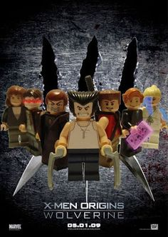 This is the LEGO version of X-Men Origins: Wolverine. It's as close to the real poster as I can make it. All the decals etc etc are made by me. Lego Marvel, Lego Wolverine, Lego Batman, Wolverine Poster, Wolverine Origins, Wolverine Movie, Lego Film, Lego Movie, Legos