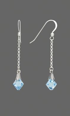 Earrings with Swarovski® Crystal Beads and Sterling Silver Chain