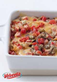 Beef Enchilada Bake – Tortillas are layered, not rolled, in a casserole of ground beef, VELVEETA and tomatoes. That's the trick to this enchilada recipe with a 20-minute prep time.
