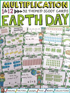 Review multiplication facts and build number sense with these 32 earth-day themed multiplication scoot cards on the 1-12 times tables. These cards feature colorful earth-day themed illustrations and earth-loving kids to make abstract content more concrete and meaningful. https://www.teacherspayteachers.com/Product/EARTH-DAY-MULTIPLICATION-SCOOT-3097694