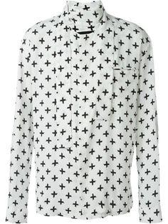 HAIDER ACKERMANN Printed Band Collar Shirt. #haiderackermann #cloth #shirt