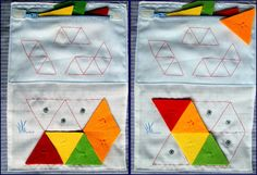 Logic quiet book Children will copy the shapes on the top of the page by putting triangles on the bottom. SC.1.51 SC.1.53